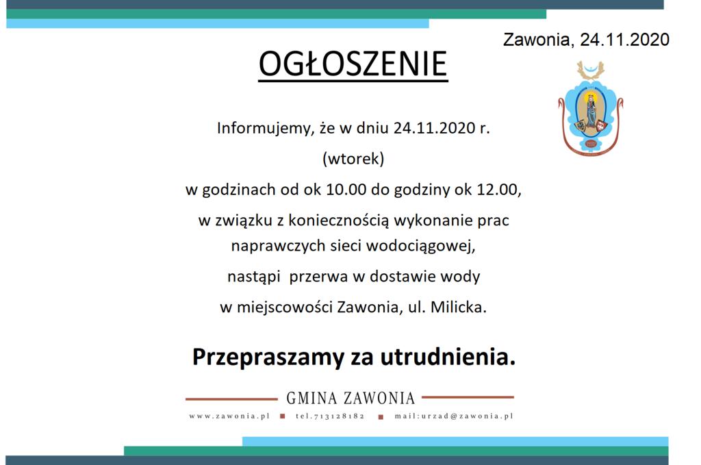 Prace naprawcze sieci wodociągowej Zawonia ul Milicka 24.11.2020 r..png
