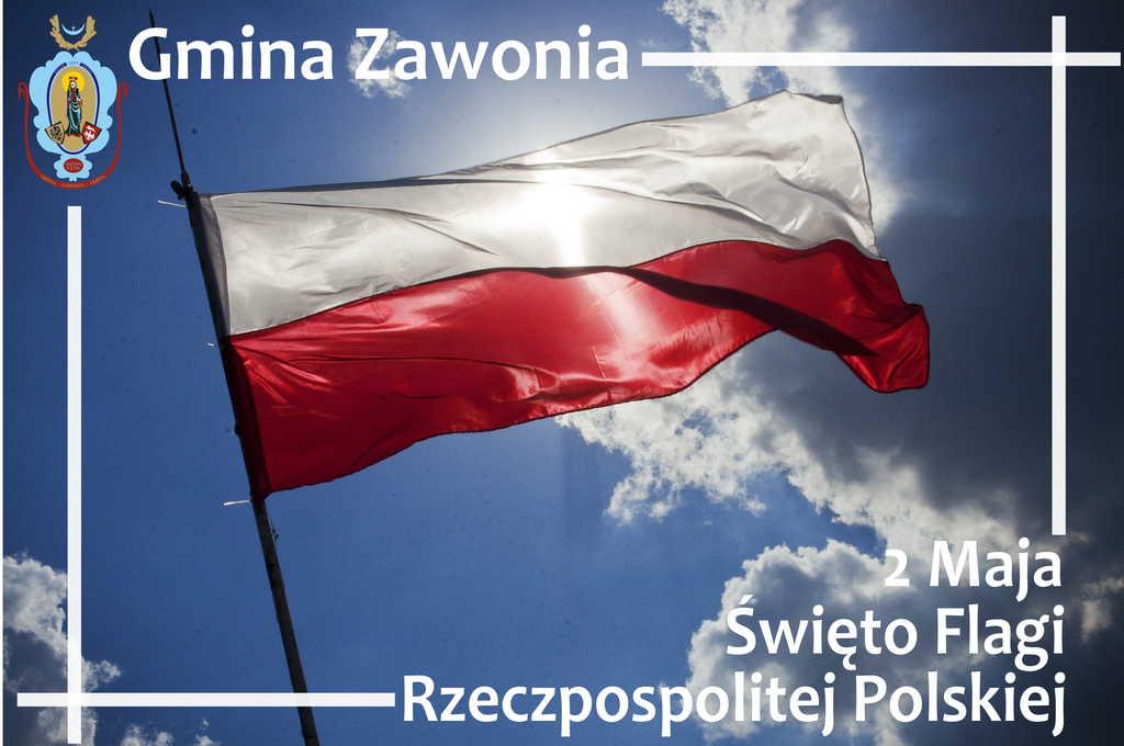 Na plakacie w centralnej jego części widać flagę biało-czerwoną na tle błękitnego nieba i chmur. W lewym górnym roku widnieje herb gminny i napis Gmina Zawonia, w prawym dolnym rogu widnieją napisy: 2 Maja Święto Flagi Rzeczpospolitej Polskiej
