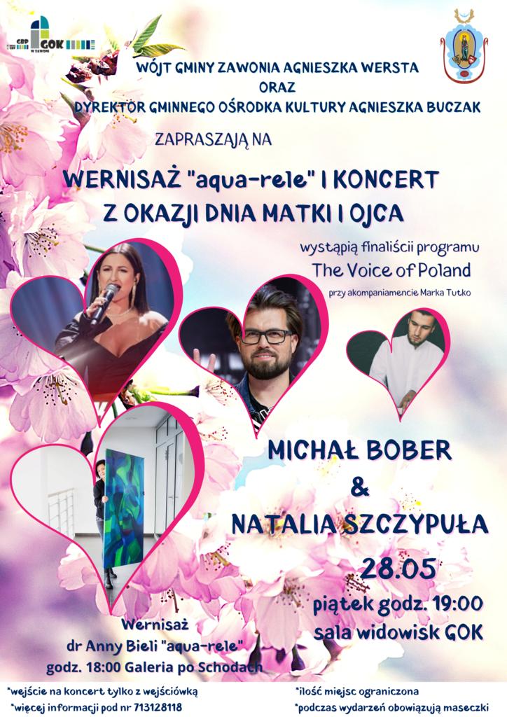 """Plakat dotyczy wernisażu """"aqua-rele"""" i koncertu z okazji Dnia Matki i Ojca"""