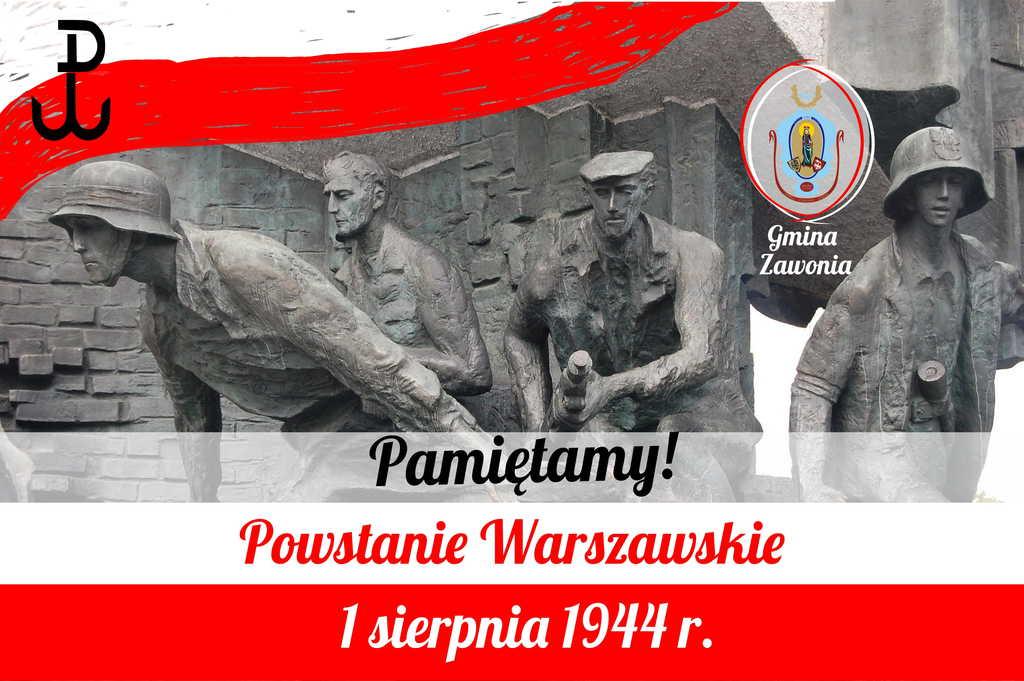 Na plakacie widnieją napisy: Powstanie Warszawskie 1 sierpnia 1944 r. Pamiętamy! W lewym górnym rogu widać symbol Polski Walczącej  umieszczony na kolorach biało-czerwonych. W tle widać rzeźby ludzi biorących udział w Powstaniu Warszawskim. Na plakacie dominują bardzo biało-czerwone.