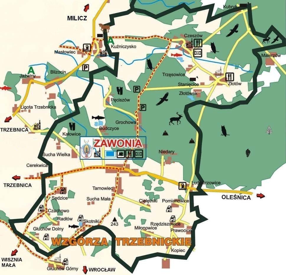 Na obrazku widać mapę przyrodnicza gminy Zawonia z wydzielonymi trasami rowerowymi i pieszymi oraz najważniejszymi puntami na mapie