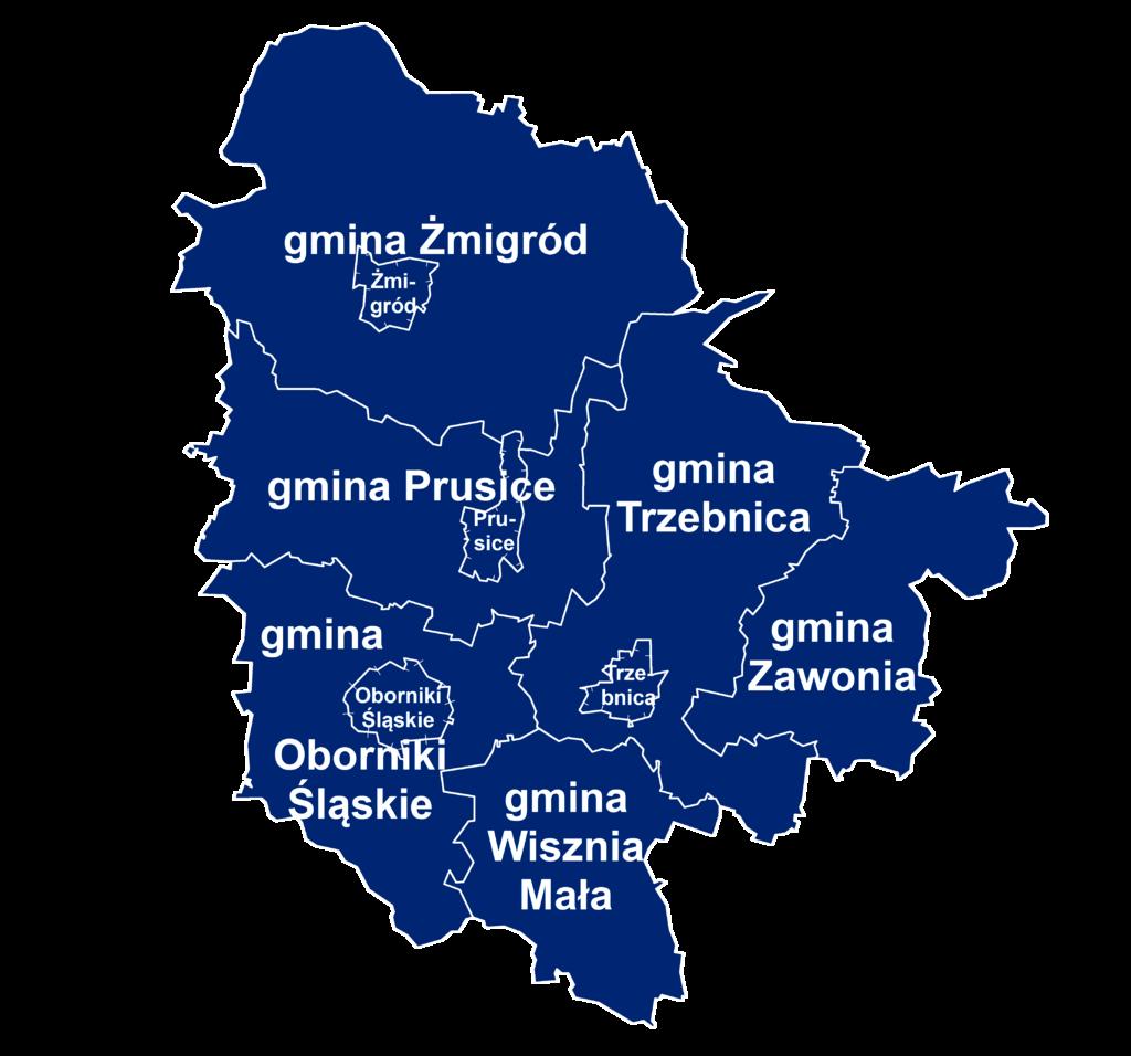 Na obrazku widać Powiat Trzebnicki, składający się z 6 gmin. Zaznaczone są granice gmin
