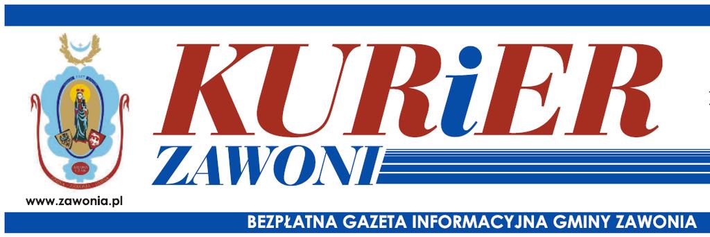 Na obrazku widać logo Kuriera Zawoni bezpłatnej gazety informacyjnej Gminy Zawonia