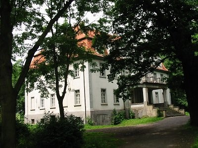Na obrazi widać zespół dworski, który był siedzibą rodów szlacheckich z połowy XIX wieku przebudowany pocz. XX w.