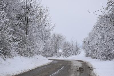 Na zdjęciu widać drogę prowadzącą do miejscowości Cielętniki. dokoła wszystko pokryte śniegiem