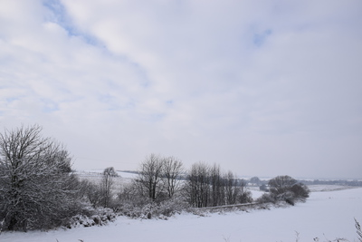 Na zdjęciu widać drogę wiodącą z Cielętnik do Tarnowca, wszystko dokoła pokryte śniegiem