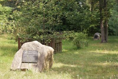 Na zdjęciu widać pomnik upamiętniający zasadzenie dęba szypułkowego i cisa pospolitego