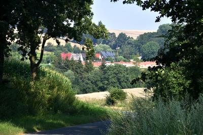 Na zdjęciu widać panoramę Radłowa, pola, łąki drzewa i drogę